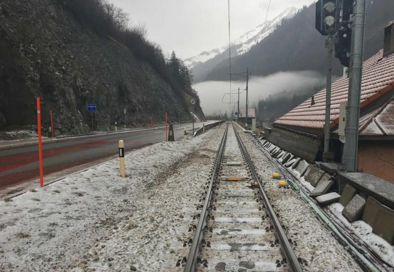 Dégâts sur la voie de chemin de fer à Montbovon