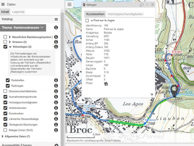 "Online-Karten – Thema ""Kantonsstrassen"""