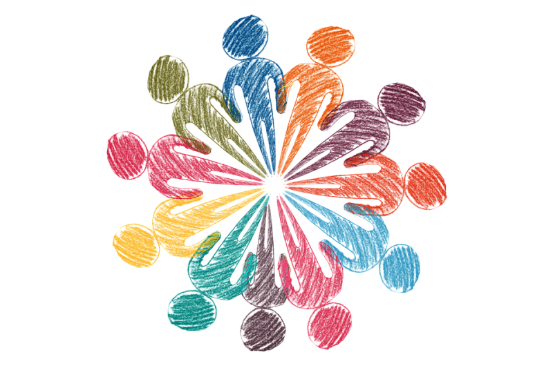 Farbig gezeichneten Menschenkreis