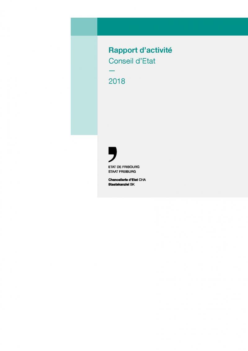 Couverture du Rapport d'activité du Conseil d'Etat 2018