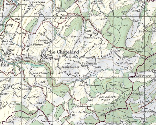 Image de la Commune Le Châtelard tirée du portail cartographique