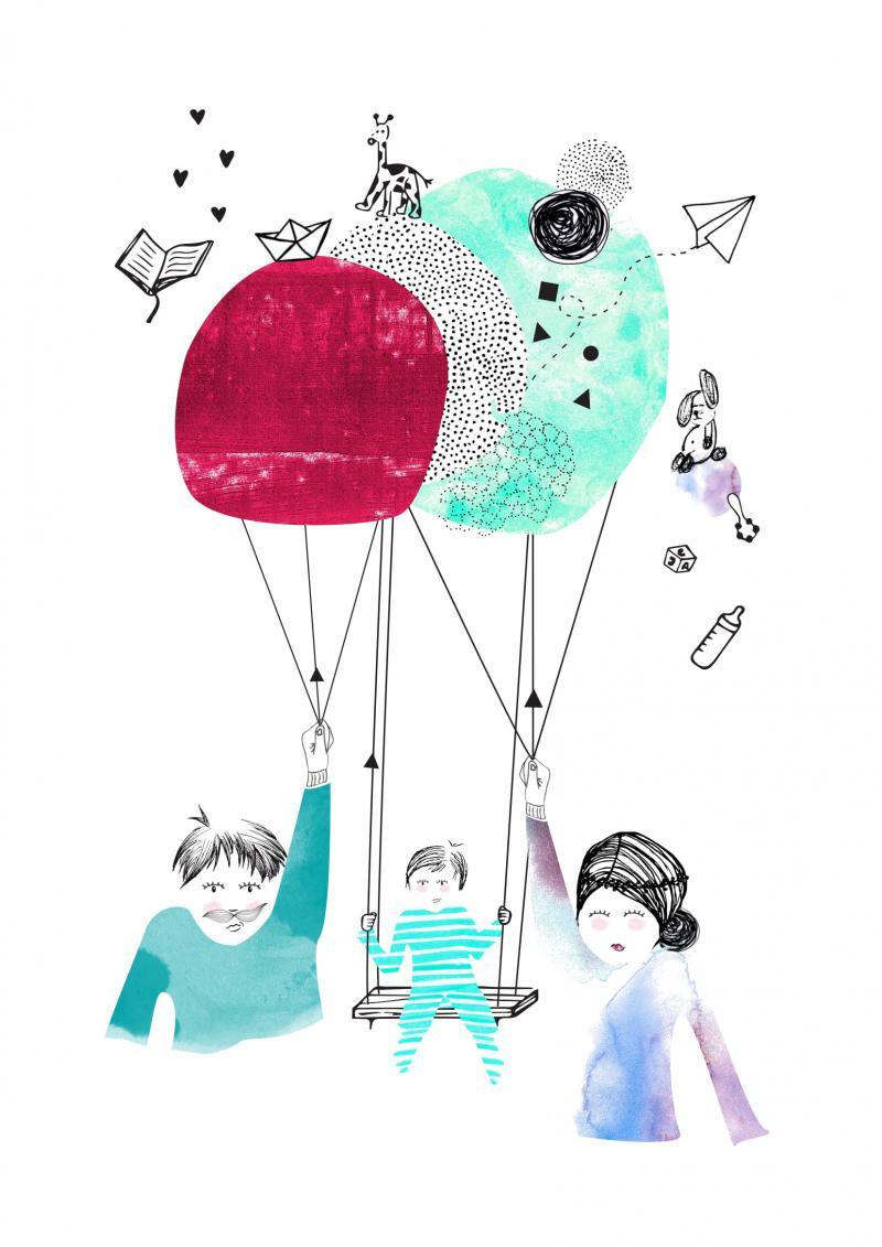 Illustration famille balançoire