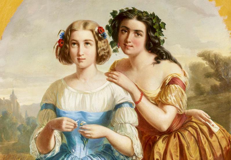 Deux amies, Pierre Lacaze, 1856