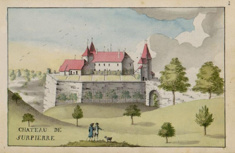 Château de Surpierre dessiné en 1796 par Charles de Castella de Montagny, ms. L 2150, f. 2r. Bibliothèque cantonale et universitaire Fribourg