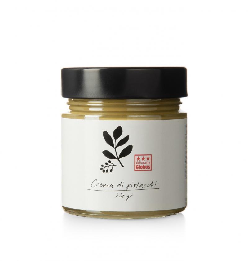 la photo représente le pot de crema di pistacchi distribué par Globus