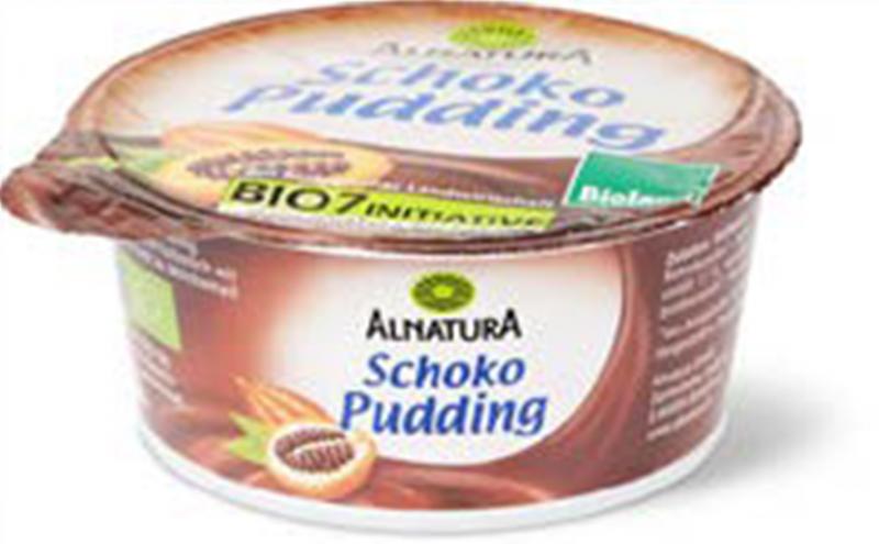 Das Bild zeigt ein Becher von Schoko Pudding