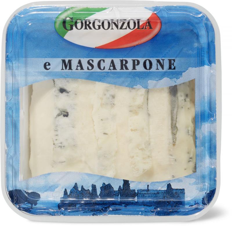 L'image montre un paquet de gorgonzola e mascarpone