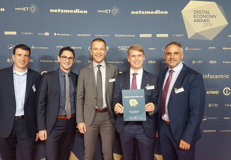 iGovPortal.ch à la deuxième place du Digital Economy Award 2019 dans la catégorie Digital Transformation