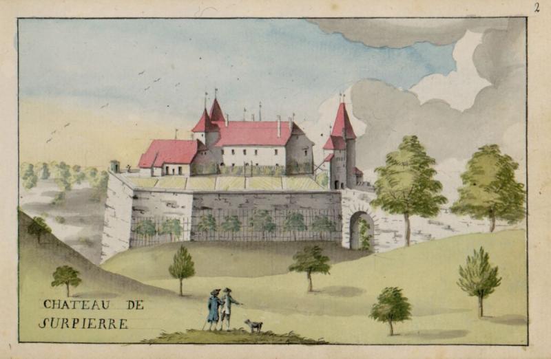 Schloss Surpierre, Zeichnung von Charles de Castella de Montagny, 1796, Ms. L 2150, f. 2r. Kantons- und Universitätsbibliothek Freiburg