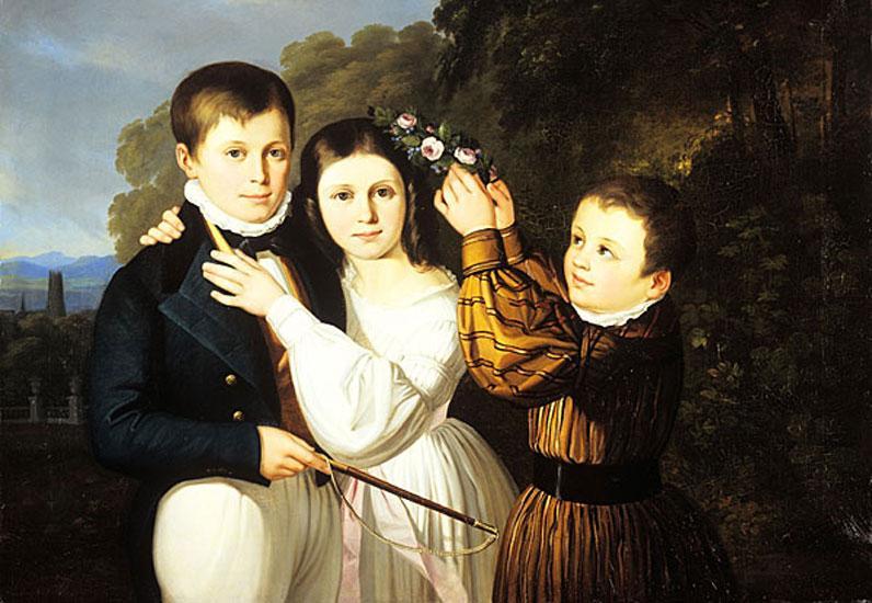 Jean-Baptiste Bonjour, Portrait d'Alexandre, Euphémie et Victor de Reyff, 1830-1840