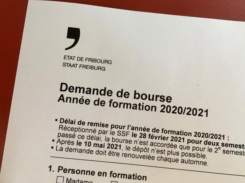 En-tête du formulaire de demande de bourse 2020-2021