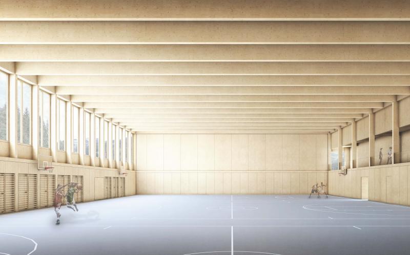 Projet de salle de sport triple pour le Campus du Lac-Noir